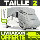 Bache protection Camping Car Taille 02 en Polyester gris 4 couches