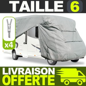 Bache protection Camping Car Taille 06 en Polyester gris 4 couches